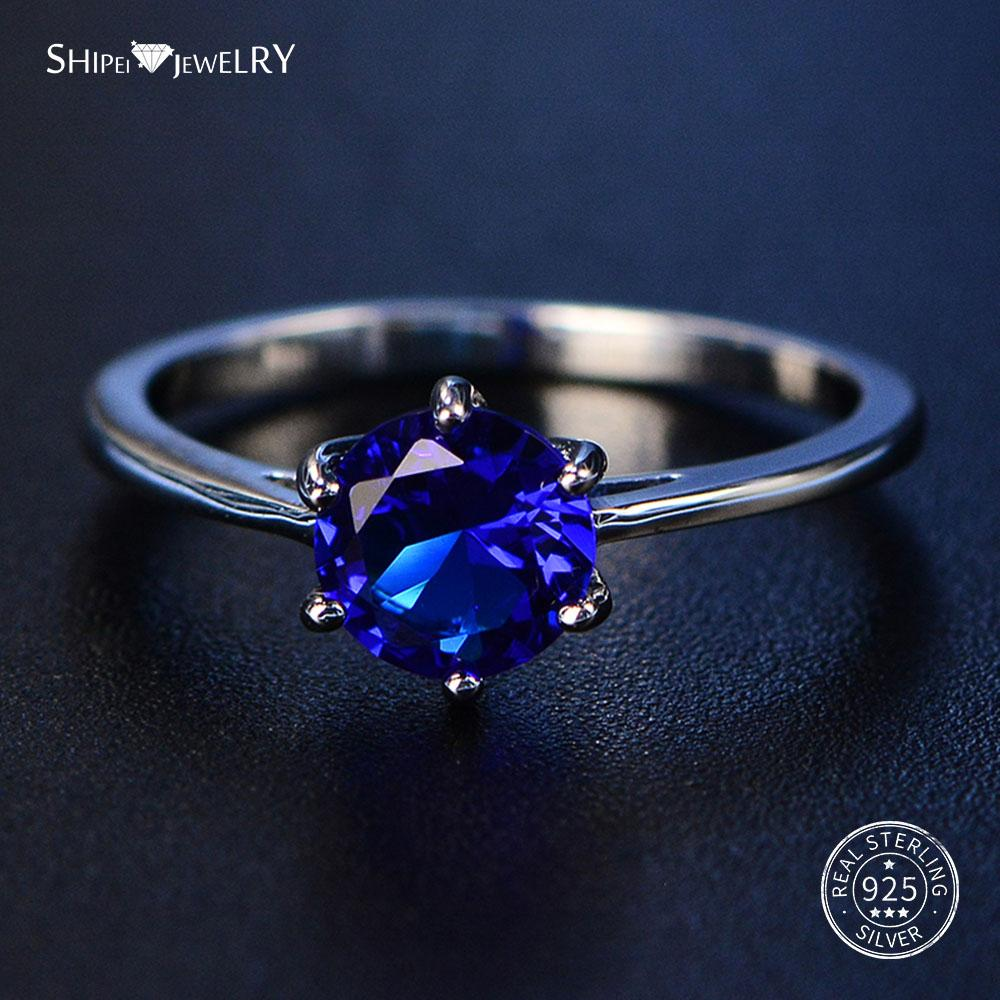 Shipei 100% 925 Sterling Silver Round Sapphire Rings for Women Fine Jewelry Perfect Cut Round Gemstone Ring Engagement Size 4-12