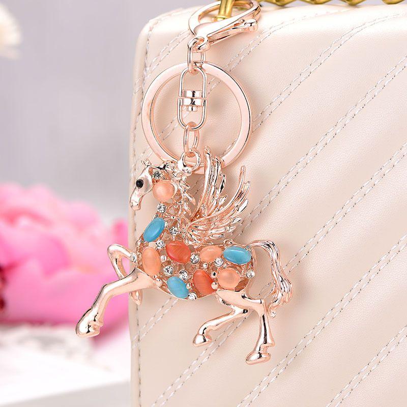 الحلي الذهب الحصان مفتاح سلسلة لطيف تحوم السماء أوبال كيرينغ محفظة حقيبة حجر الراين سيارة أزياء الحيوان مجوهرات للنساء