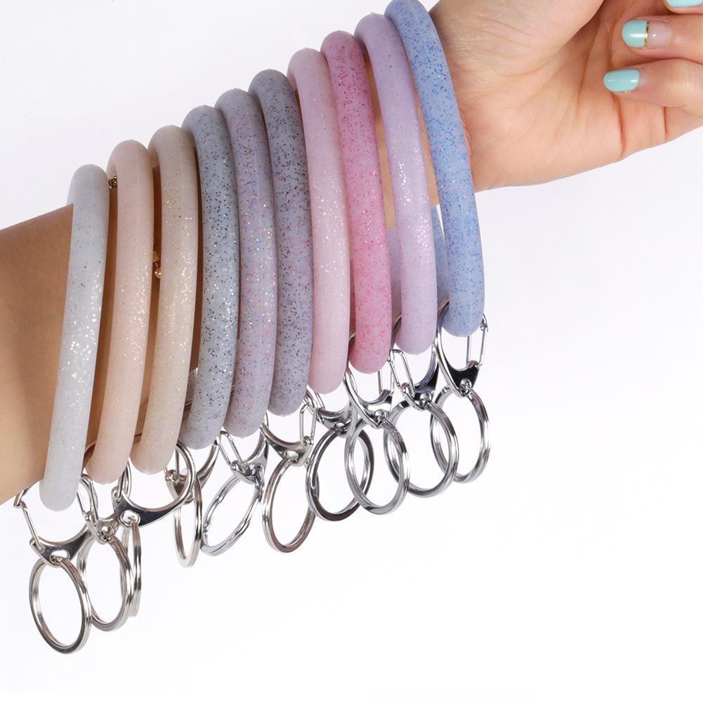 Silicone Wrist Key Ring Fashion Glitter Bracelet Sports Keychain Bracelets Bangle Round Key Rings Large O Cute Keyring Jewelry GGA2511