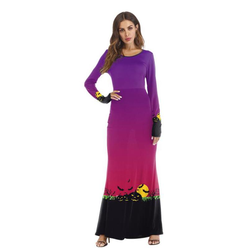 Vente chaude Effrayant Costumes d'Halloween pour les femmes Taille Plus citrouille Imprimer Maxi Robe longues pour femmes Party manches Robes cosplay robe