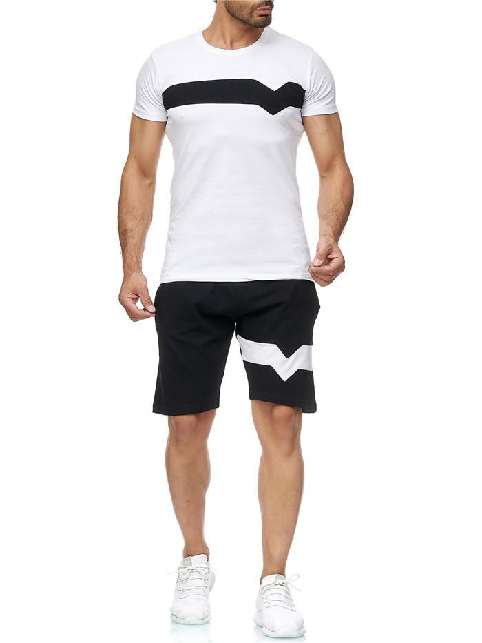 Herren Colorblock Trainingsanzüge Sommersportanzüge Casual Kurzarm Tshirts Lose Shorts Homme 2 stücke Kleidung Sets