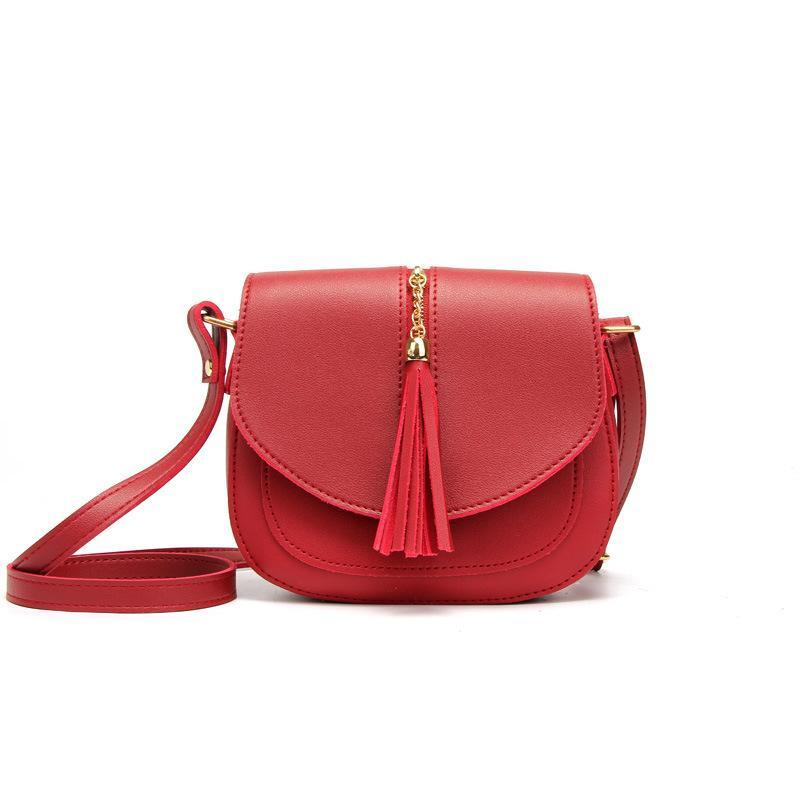 New Arrival Women Crossbody Bag PU Leather 19134 Casual Style Bags Ladies Tassel Printed Zipper Pattern Black Fashion Shoulder Bags Female