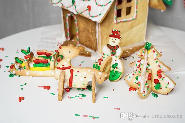8 قطع / مجموعة 3D عيد الميلاد السيناريو قطع الكعكة مجموعة تزيين الكيك الفولاذ المقاوم للصدأ البسكويت قالب أقراص سكرية كوكي كتر
