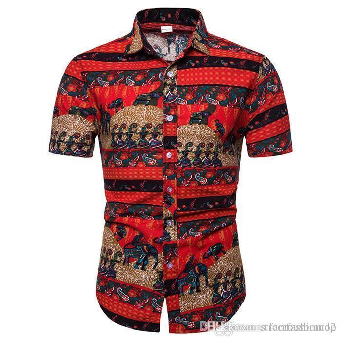 Yaz Tasarımcı Casual Kısa Kollu Giyim İş Tarzı Rahat kıyafet Erkek Desen Gömlek