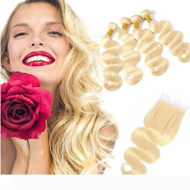 cabelo peruano não transformados extensões do cabelo humano fornecedores onda do corpo 613 Loiro 4 pacotes com 4X4 Lace Encerramento Cor Natural 5pieces monte