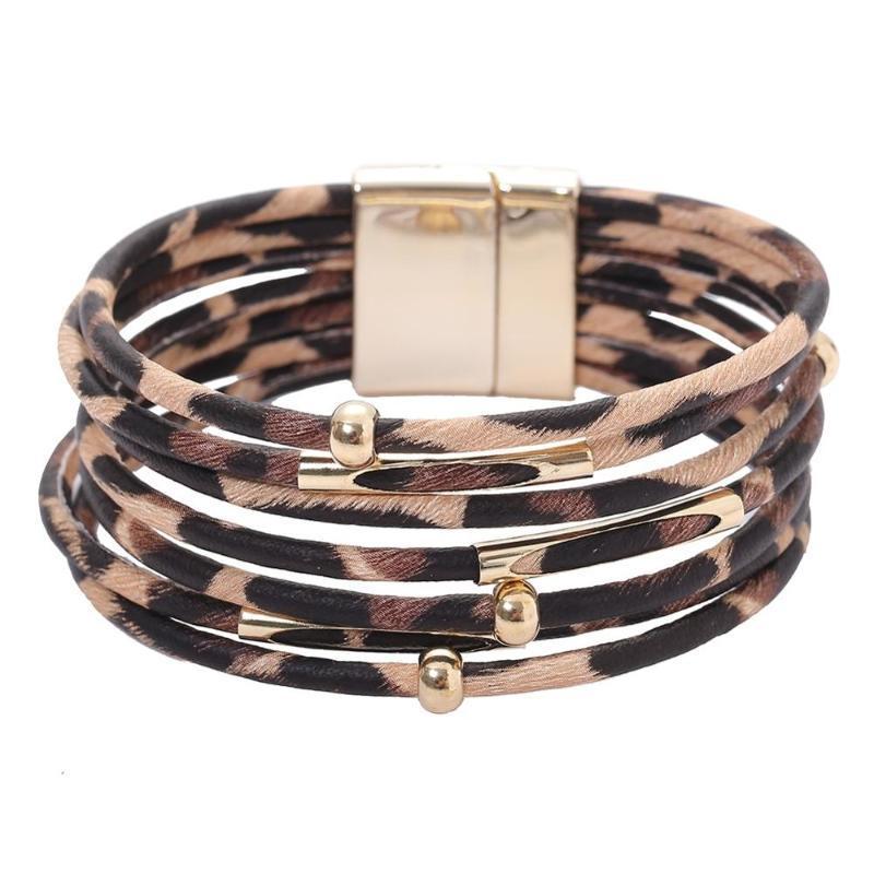 imixlot Fashion Animal Leopard-Print Bracelet Wrap Bracelet For Alloy Tube Multilayer Bangle for Women Jewelry Gift