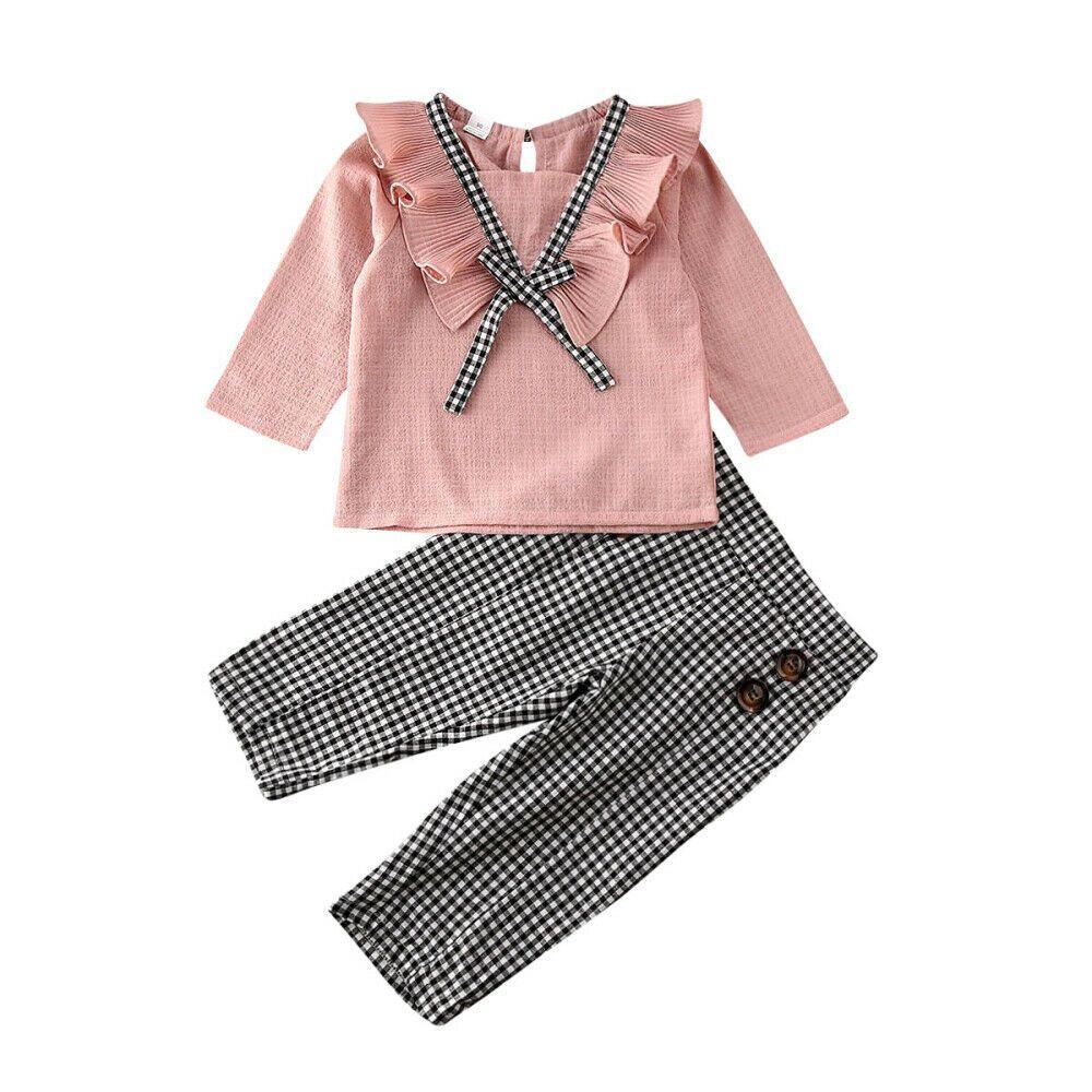 Moda autunno bambina bambino abiti rosa Ruffles camicetta superiore Pladi lunghi pantaloni infantili 2PCS Outfits Sets Tuta Abbigliamento