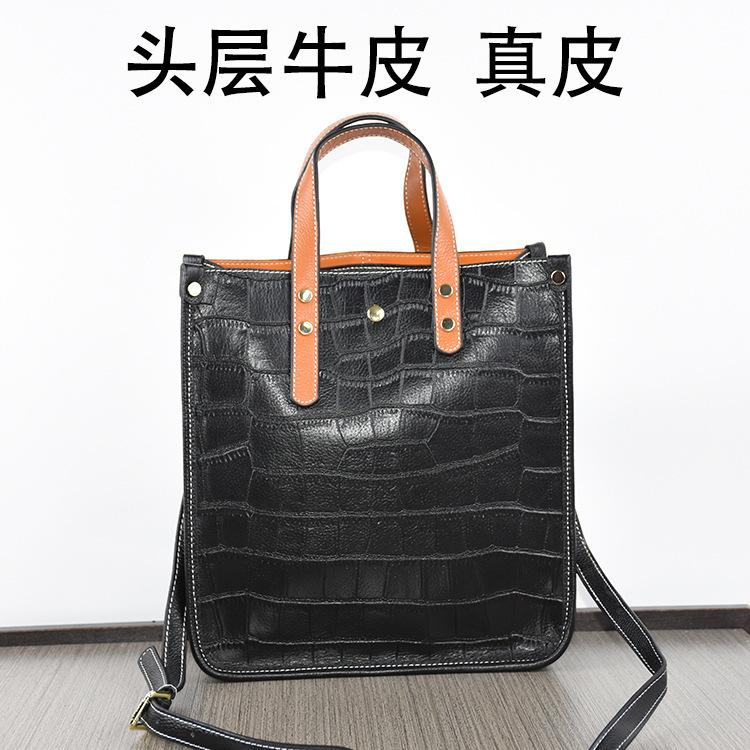 Charm2019 Cowhide Pattern Woman Bucket Package The Tide. Concise All-match Handbag Single Shoulder Genuine Leather Will Bag