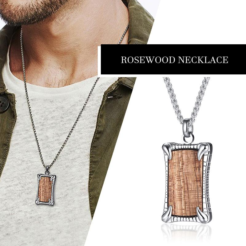 DEBONAIR STAINLESS STEEL AND ROSEWOOD DOG TAG INLAY MODERN MENS NECKLACE PENDANT JEWELRY
