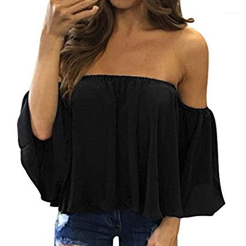 Stilvolle Frauen Schulterfrei Casual Bluse SHIRT Tops Trägerlosen Reine Farbe Glocke Hauchhülse Tops1