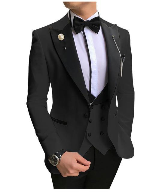 Trajes traje blanco Champagne Men 3 palos Piezas Slim Fit comerciales Groom Tuxedos para traje formal de la boda (Blazer + Pants + vest)