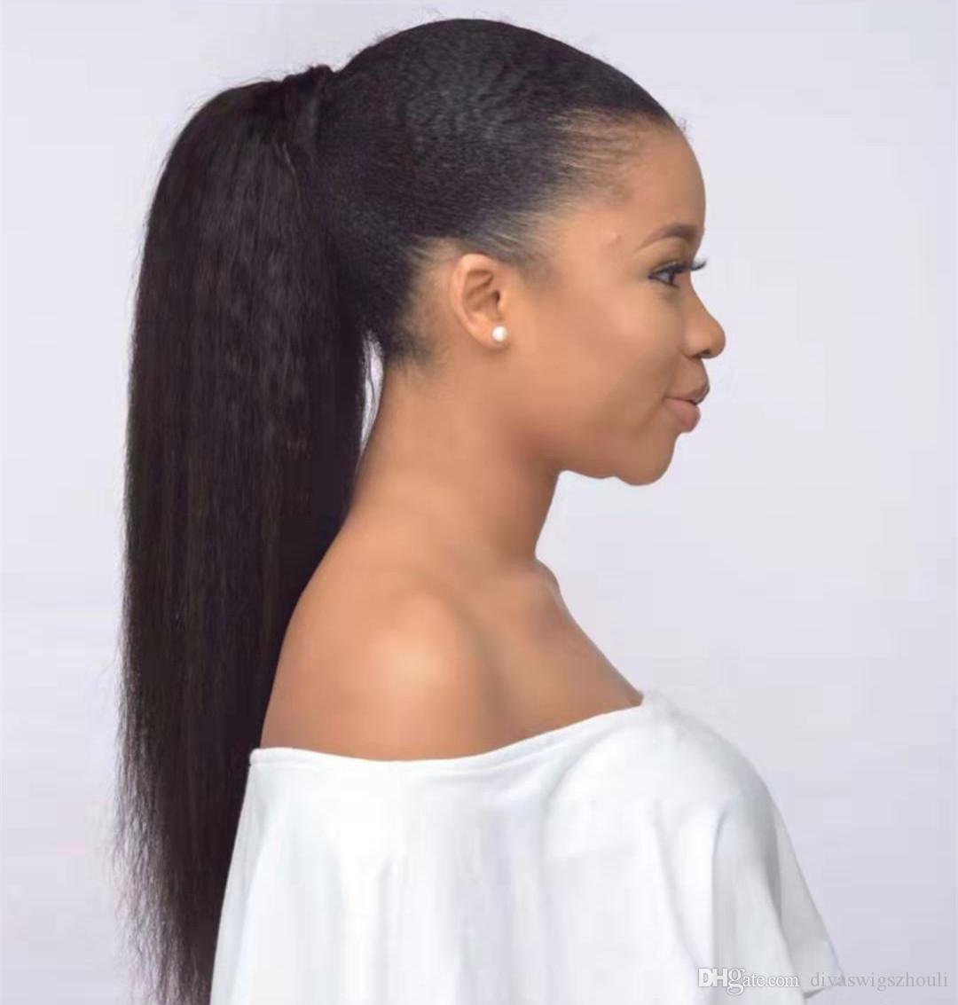 Afro Puff Long Kinky Straight Drawstring Ponytail Europen hair Yaki kinky straight Clip In Hair natural color