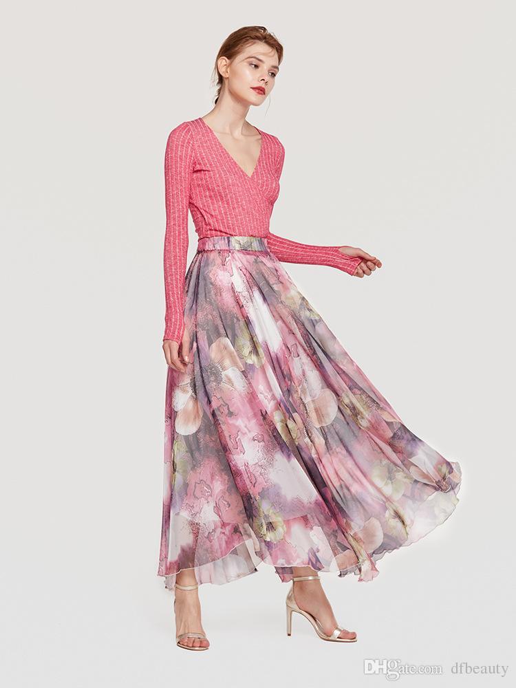 Vêtements pour femmes à la mode big hem bohème robes nouvelles femmes jupes enveloppées florales bleu violet demi jupe grande taille S-2XL