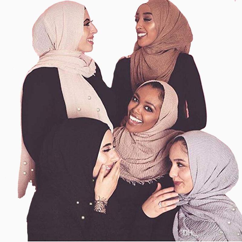Abaya Dubai Muslim Hijabs Women Crinkle Cloud Hijab Scarf Pleated Scarves Pearls Fashion Long Wrap Scarf