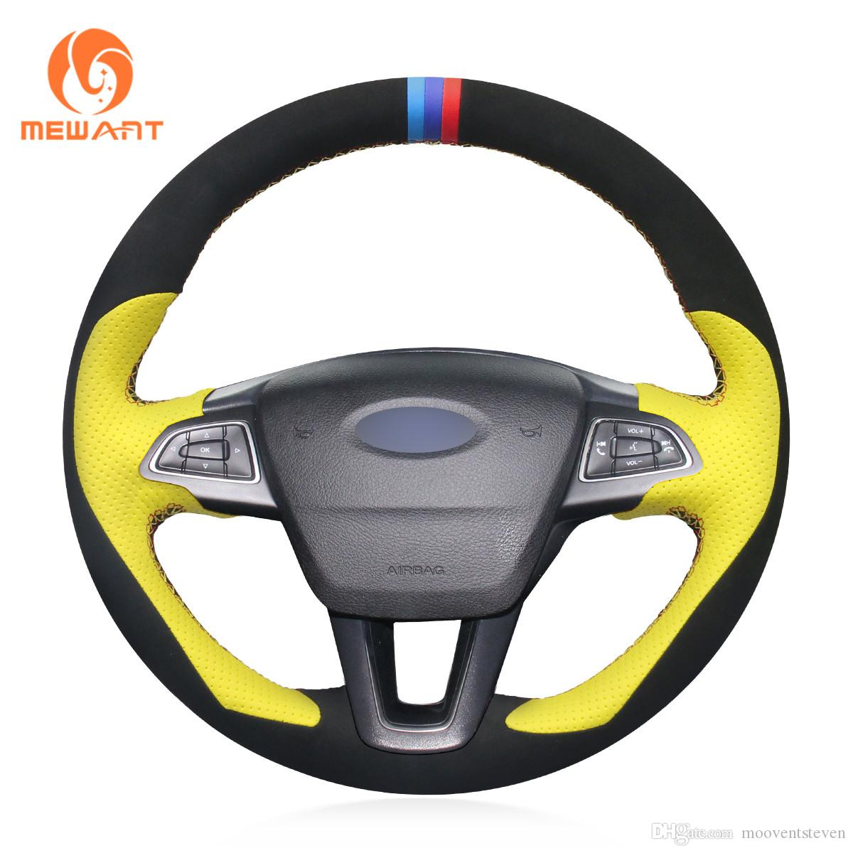For Ford Mondeo Mk3 Black Perforated Leather Steering Wheel Cover Blue Stitch Vehicle Parts Accessories Car Wheel