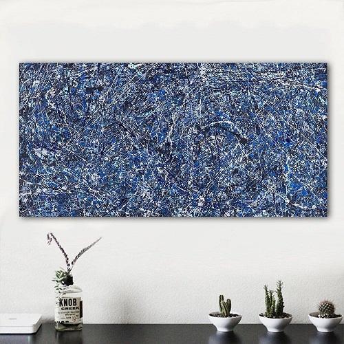 """Jackson Pollock """"Sfondo blu"""" dipinto a mano di alta qualità moderna Wall Art Home Decor pittura a olio astratta arte su Canvas.jk15"""