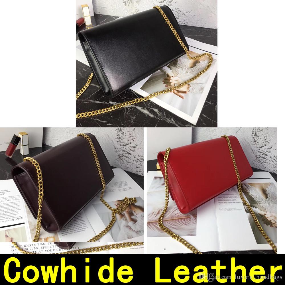 catena di borsa in pelle bovina di oro argento con il pendente della serratura del cuoio genuino Borse Spalla Borse 60012