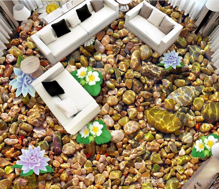 거실 사진 인쇄 각자 접착 비 미끄러짐 벽지 벽화를 위한 가정 장식 3D 지면 벽지 돌 로터스 지면 벽지