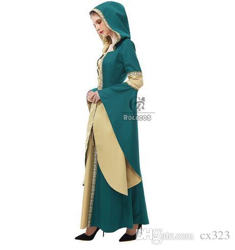 2018 Nouvelle Arrivée Femmes Robe Médiévale Renaissance Robe Victorienne Robe De Bal Robe De Soirée Robe Princesse Reine Cosplay Costume