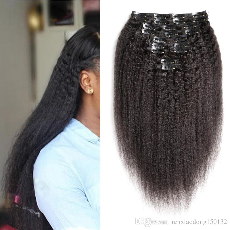 Coarse Yaki Kinky Straight Clip In Hair Extensions