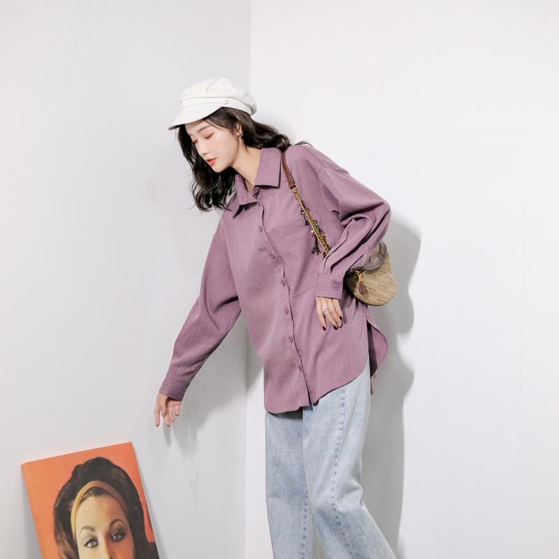 Moda-Lady Kadın Kız kız gibi Mor Gömlek Yaka Boyun Gömlek Tek göğüslü Gömlek Uzun Kollu Güz Kış Saf Renk Stil B102278Z