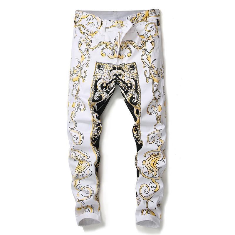 Calças dos homens europeus estilo americano calças retas pintadas de impressão amarelo magros magro dos homens Discoteca calças calças de brim