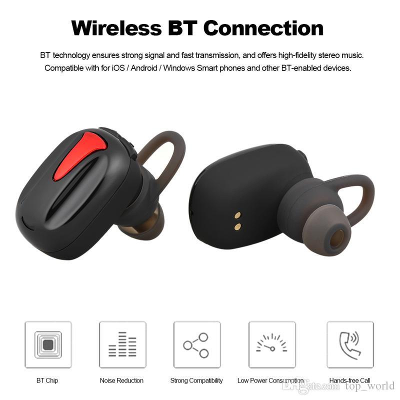 Free Shipping Binaural Bluetooth Earphone Sport Wireless Portable Charging Box 3D Stereo headset Mancala TWS-K8