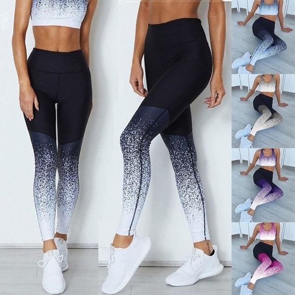 Legging Gradyan Elastik Gym Kadın Sweatpants ile Elastik Running Yaz Yüksek Bel yoga pantolonu Seksi Sıkı pantolon Bayanlar Spor