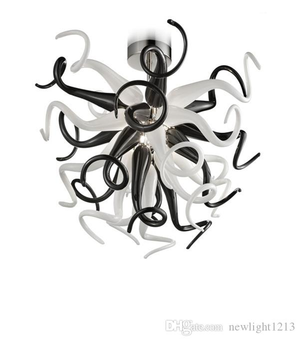 Arte Moderna lustre de vidro teto lâmpada pingente Luzes de vidro branco e preto Loft Pendant Lamps 85V-265V Led Lighting Fixture