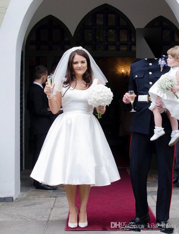 Plus Size Short Wedding Dresses 2019 New Designer Simple Style Spaghetti  Strap A Line Satin Tea Length Bridal Gowns Vestidos De Noiva W609 Sale ...