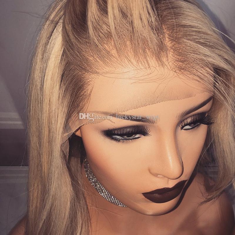 최고 품질의 Glueless 2 Tone Dark Roots 옹 브르 브라운 Natural Wave Hair 180 % 밀도 내열 합성 레이스 프론트 가발 스트레이트 닝 가능