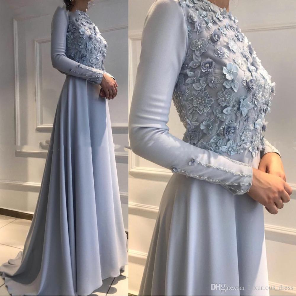 Cinzento elegante prata muçulmana Evening vestidos de manga comprida Vestidos Formais 2019 Arábia Saudita Mulheres Ocasiões especiais Prom vestido vestidos Visitante