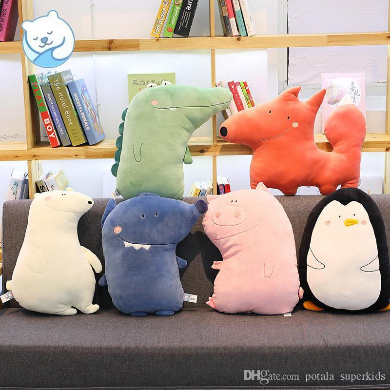 시뮬레이션 동물 봉제 장난감 패딩 플러시 쿠션 귀여운 소프트 숲 동물 인형 베개 펭귄 화이트 베어 울프 악어 봉제 인형 쿠션