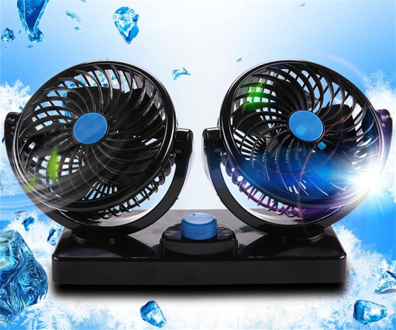 12V / 24V Mini Elektrikli Araç Fan Düşük Gürültü Oto Klima 360 Derece Döner arabanın Cooler ventilador Yaz yılında Fan Soğutma
