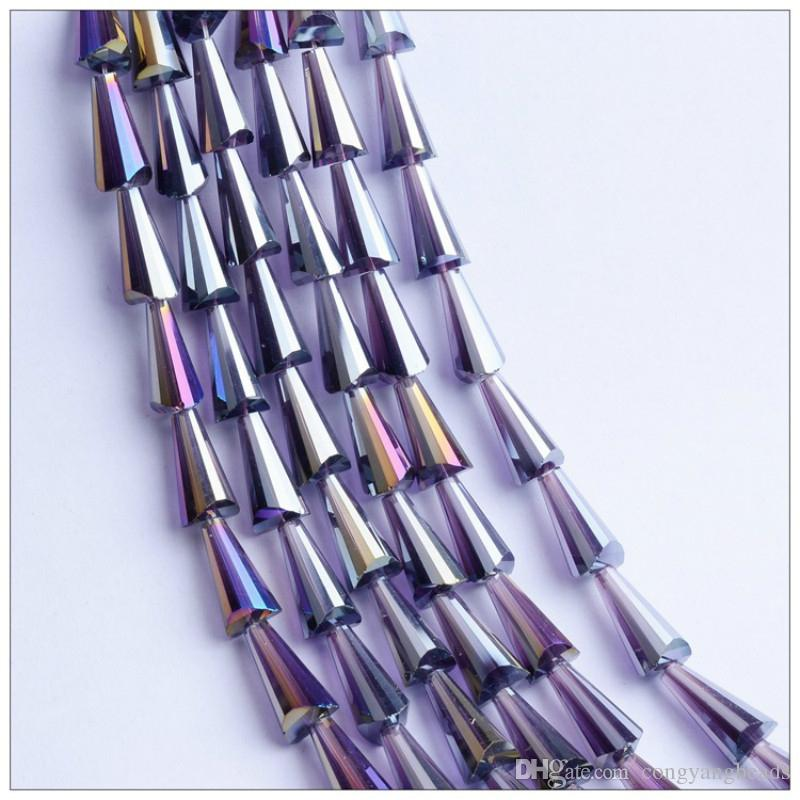 3x6MM/4x8MM Tower Shaped Glass Crystal Bead Diy Jewelry Accessories Loose Beads Amber/Black/Blue/Champagne/White