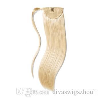 Virgin remy drawstring ponytail hair extensions virgin European clip 100% human hair ponytail Blonde color 100g