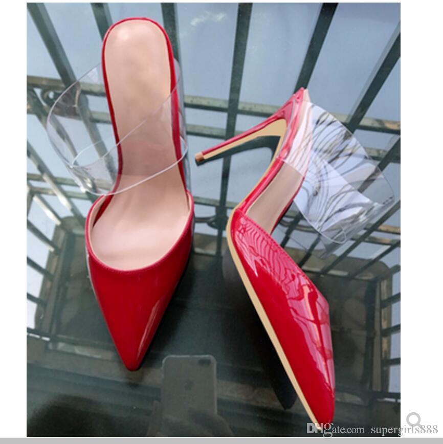 Novo tipo de mulheres sapatos de salto alto cúspide sandálias de salto fino 8 cm 10 cm grande código 44 dança festa de casamento chinelo boate escritório vermelho sapatos de fundo