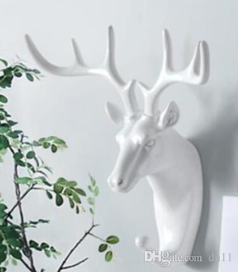 Cabeça de animal branco cavalo Elefante casaco decorativo chapéu gancho decoração da parede resina zebra casa veados cabeça estátua escultura