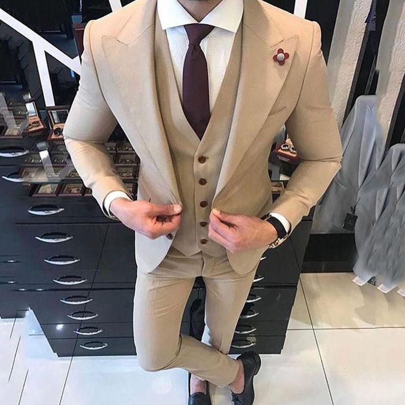 Khaki Men Suits Smart Casual Business Slim Fit Wedding Tuxedos Groom Wear Ternos Hombre 3 Pieces Jacekt Pants Vest Costume Homme Mariage