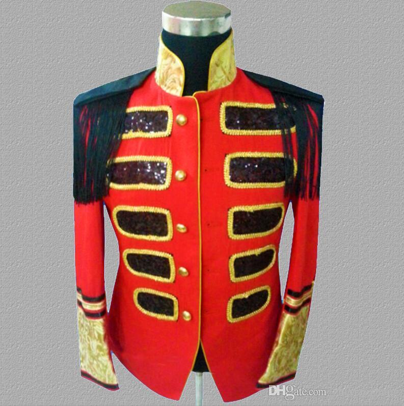 sequins blazer men suits designs jacket mens stage singers palace clothes dance star style dress punk rock stand collar red