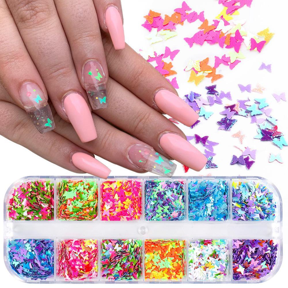 12 Grids 3D Nail Art Schmetterling Flakes Holographics Nagel Glitter Pailletten Dekoration DIY Nagel-Kunst-Design Schönheits-Salon Supplies