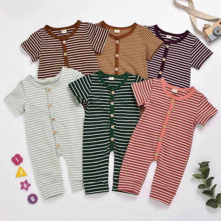 Vêtements pour bébé Enfants Striped Barboteuses Garçons Filles Coton Tenues Summer Infant Casual manches courtes Boutons Bodies Onesies Costume Climb BYP571