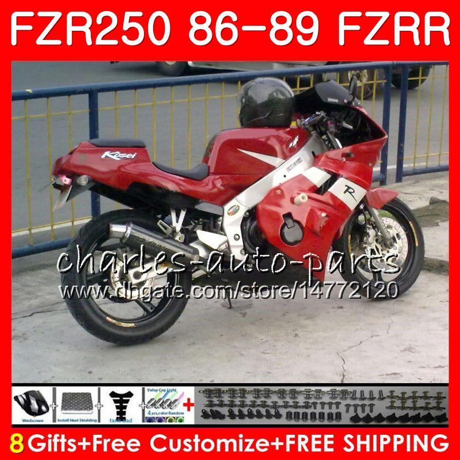 Corps pour YAMAHA FZRR 250 FZR 250R FZR 250 1986 1987 1988 1989 123HM.46 FZR250RR FZR250R FZR-250 FZR250 cadre rouge stock 86 87 88 89 Carénage