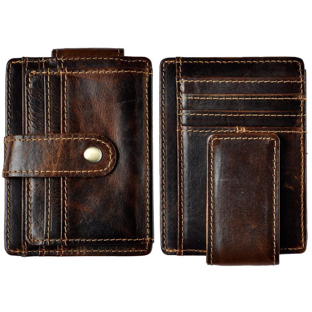 ذكر جلدية الأصلي تصميم الأزياء سفر سليم محفظة الجيب جبهة المغناطيسي كبيرة المال كليب السعة بطاقة حالة للرجال 1025c