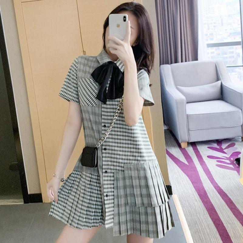 WOMENGAGA verão 2020 novo aluno inglaterra estilo patchwork grade plissada curta solta ocasional zipper vestido de lapela menina A019 feminina