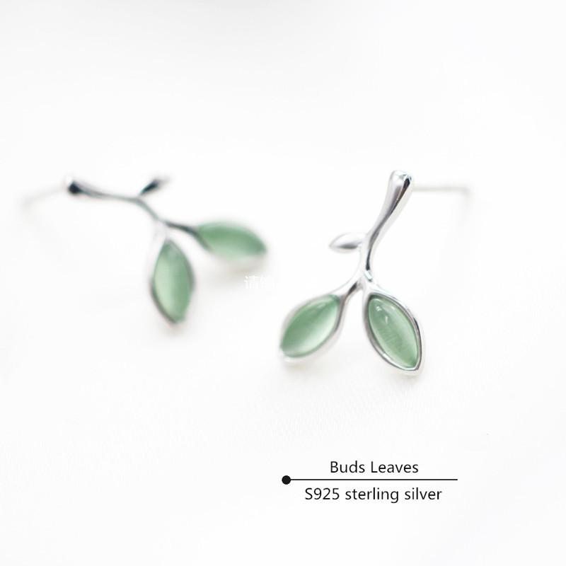 Buds Leaves Stud Earrings For Women Natural Smoky Quartz S925 Sterling Silver Fine Jewelry Temperament Bride Wedding Aretes Y190125