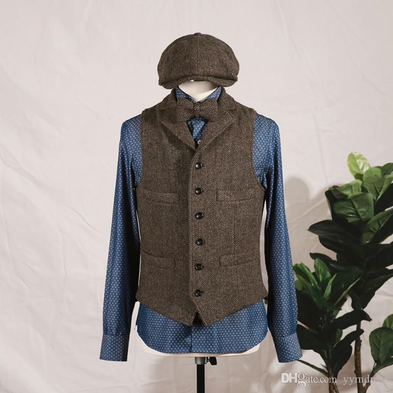2019 Brown Wool Groom Vests Slim Fit Notch Lapel British Style Single breasted Men's Suit Vest Wedding Waistcoat