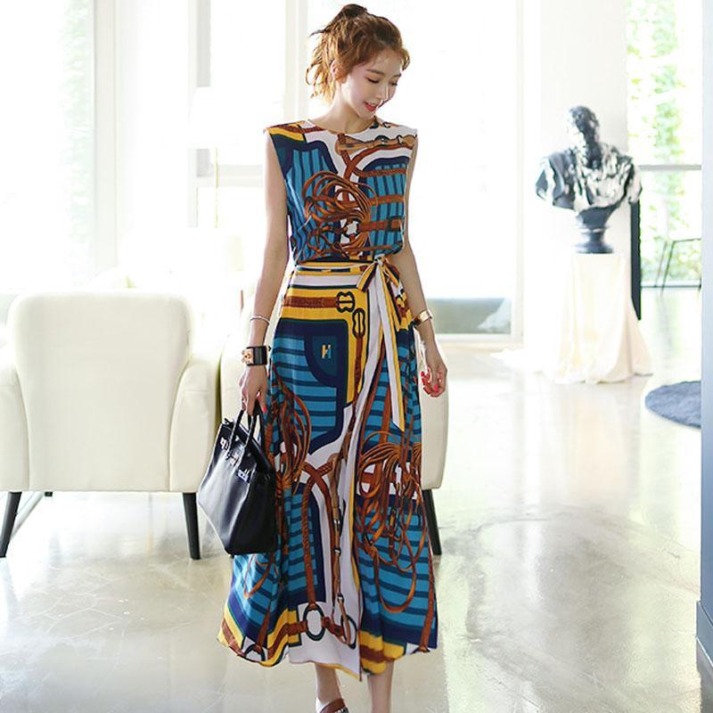 New Fashion Designer 2 Piece Set Women's Sleeveless Vintage Printed Chiffon Dovetail Shirt Top+Lace-up Long Skirts 2Pcs Set