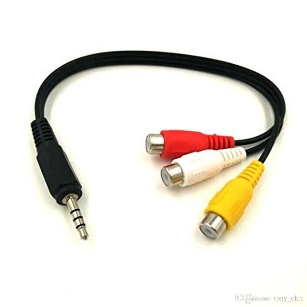 3.5mm Mini AV Male To 3RCA Female Audio Video Cable Stereo Jack Adapter Cord EC