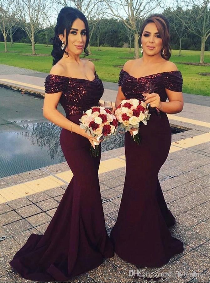 2019 Burgundy Off the Shoulder sereia longos vestidos da dama Sparkling lantejoulas Top Convidado de Casamento Vestidos Plus Size dama de honra Vestidos